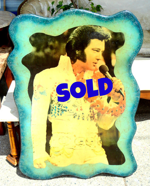 Unique Elvis The King Wall Art.  Elvis in his prime during the Hawaii recording sessions. Enjoy eating a peanut butter and banana sandwich while admiring this hunka hunka burning love in the comfort of your home.  Thank you very much.... 30 x 42.  <b>$125</b>