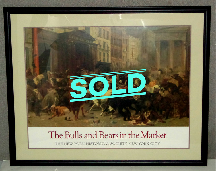 <i>The Bulls and Bears in the Market </i>by William Holbrook Beard in Elegant Matted Frame.  This high-quality framed <i>The Bulls and Bears in the Market</i> print is created by top quality printers with the latest in art reproduction technology. The colors are vivid.  Excellent condition.  38 x 31.  <b>$85</b>