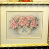 Beautiful Floral Watercolor in Elegant Frame.  Pink Dogwood in Limoges style vase.  27 x 23.  <b>$50</b>