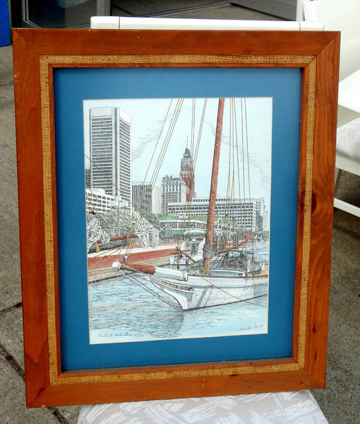 Dockside, Harbor Place by Morton Barry Signed Lithograph 107/950.  21 x 25.  <b>$65</b>