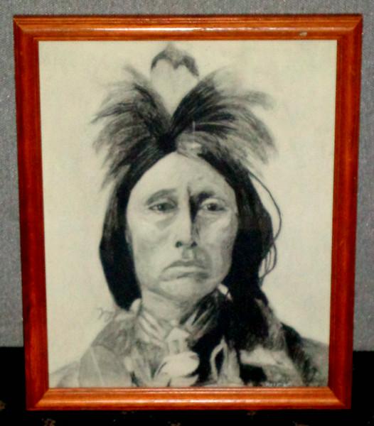 Original American Indian Charcoal Art in Frame.  12 1/2 x 16.  <b>$50</b>