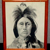 Original American Indian Charcoal Art in Frame.  12 1/2 x 16.  <b>$50</b>