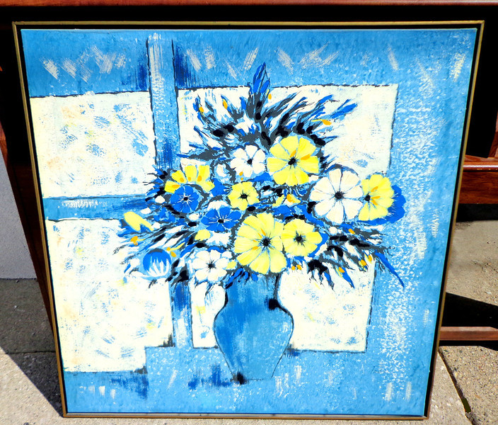 Captivating Blue Floral Original Oil on Canvass by Fadik.  37 x 38.  <b>$95</b>