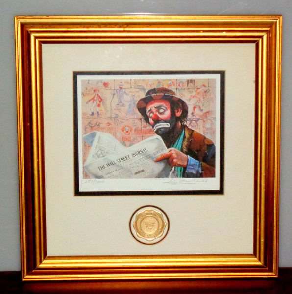 Emmet Kelly <i>Wall Street Tycoon</i> Lithograph By Leighton Jones Stanton Arts 257 of 5000 Certificate.  16 x 16.