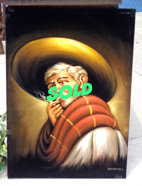 Traditional Mexican Farmer Smoking Cigarette.  24 1/2 x 35.  <b>$125</b>