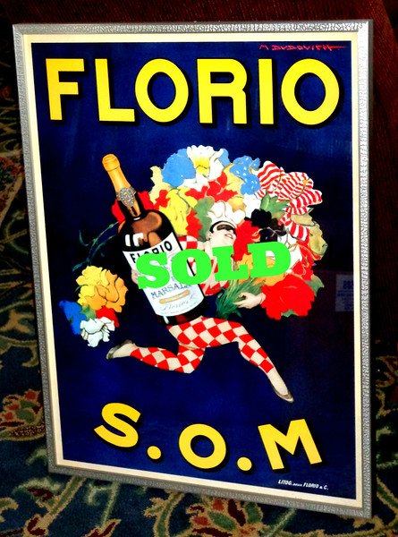 """Florio S.O.M by Marcello Dudovich Vintage Advertising Poster ~ Custom Framed &amp; Matted ~ A+Quality.  Marcello Dudovich (21 March 1878 - 31 March 1962) was an Italian advertising illustrator and painter. Dudovich started making advertising sketches in Milan. In Turin, he has further success creating billboard ads and works for several companies (Carpano, Fiat, Pirelli, Romeo Alpha). This poster is of a vintage ad created by Marcello Dudovich. It shows a clown carrying a large bouquet of flowers and a bottle of Florio Marsala wine. Surrounding the clown it says """"Florio S.O.M."""" .The Florio winery was founded in Marsala in 1832 by Vincenzo Florio.  24 x 32.  <b></b>"""