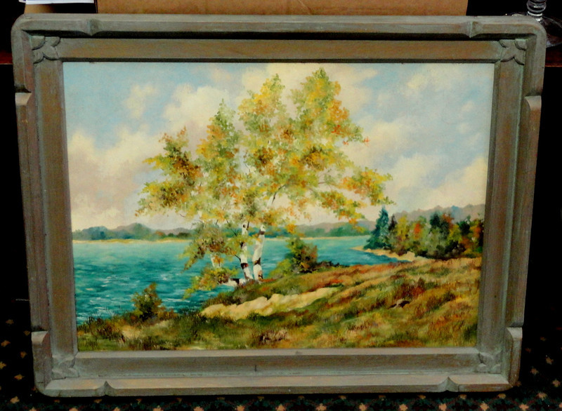 Birch Tree on Water Original Oil in Unique Solid Wood Frame.  29 x 23.  <b>$75</b>