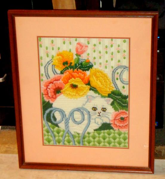 Impressive Needlepoint Cat Still Life in Frame.  17 x 21.  <b>$65</b>