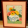 Impressive Needlepoint Cat Still Life in Frame.  17 x 21.  <b>$65</b>