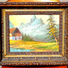 Mountain Farm Antique Oil On Canvass in Ornate Frame.  18 x 15.  <b></b>