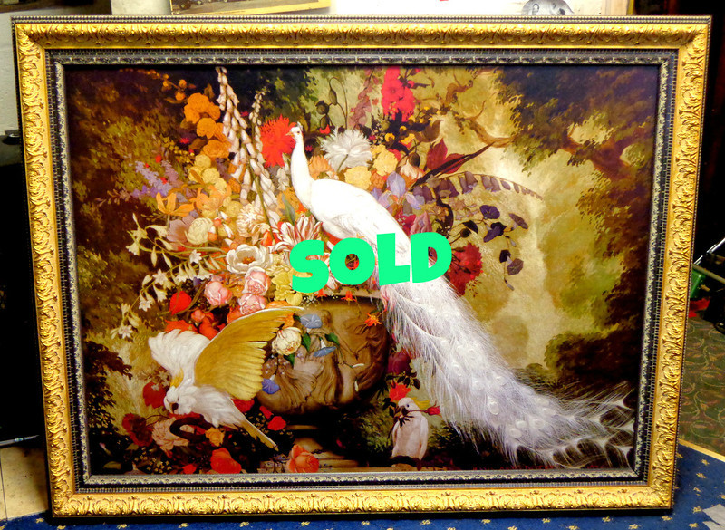 "Stunning Jessie Arms Botke ""White Peacock, Cockatoos and Flowers"" in Ornate Frame.  Mint condition.  50 x 39.  <b> $425</b>"