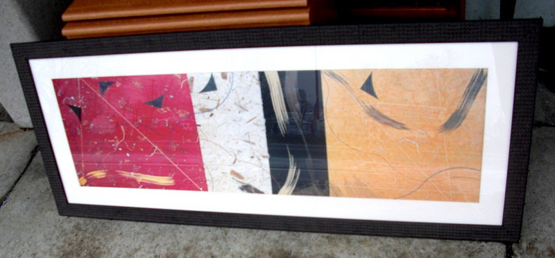 Colorful Contemporary Asian-Inspired Wall Hanging in Textured Frame.  58 x 24. <b>$40</b>.