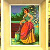 Original needlepoint Maiden in Frame.  15 x 19.  <b>$60</b>