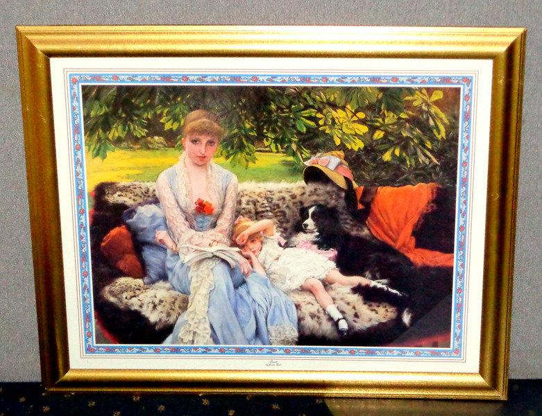 <i>Quiet</i> by James Tissot ~ Framed Print.   James Jacques Tissot (15 October 1836 – 8 August 1902) was a French painter and illustrator. He was a successful painter of Paris society before moving to London in 1871.  <i>Quiet</i> was one of Tissot's most popular works and was likely completed in 1881.  This wonderful print will become a welcome addition to your home.  31 1/2 x 26.  <b>$40</b>