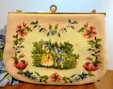 Vintage 1940's Christine's Custom Bags, Detroit, Michigan Needlepoint Handbag.  $95