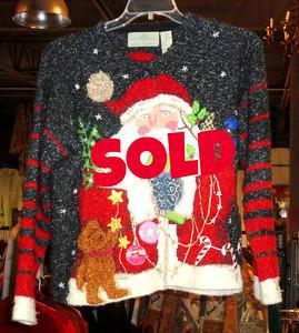 Festive Seasonal Ladies Medium Santa Sweater.  $15
