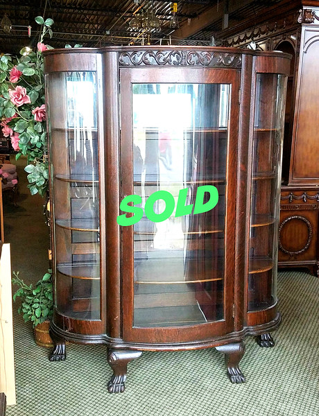 Antique Curved Glass Bookcase