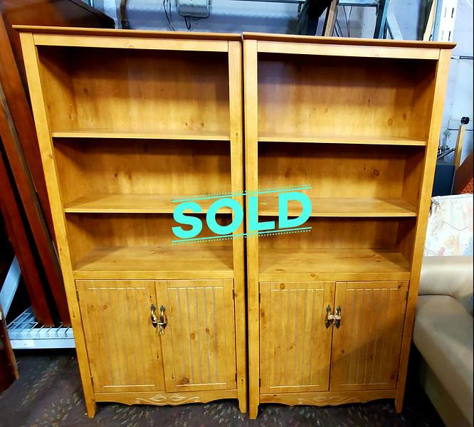 Pine Bookshelf Cabinets