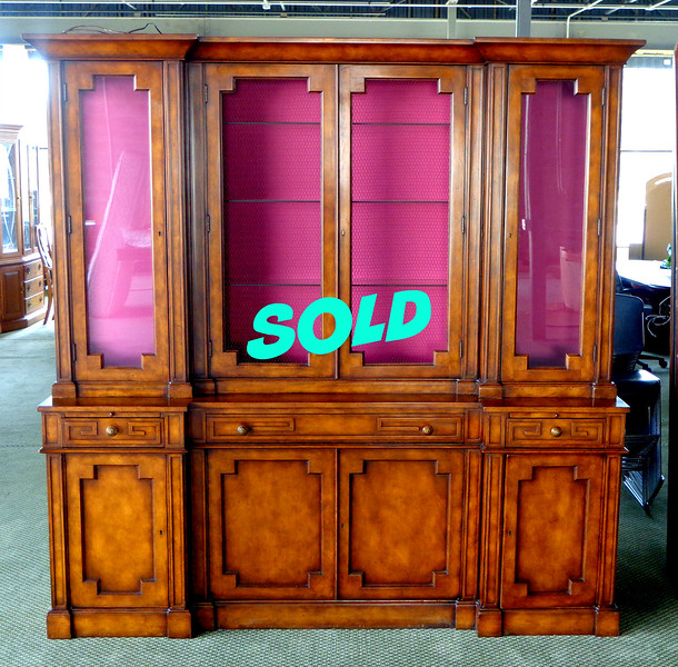 RARE! Germain Style <i>Biedermeier </i>Walnut Breakfront - China Cabinet with adjustable shelves in excellent condition.  <i>Biedermeier </i>furniture is a fascinating subset in furniture history. Much like other movements, <i>Biedermeier </i> defined a people and their priorities: it was a backlash.   <i>Biedermeier </i>antiques are rarities, to be sure, but there's nuances of their style that lives on: honey-colored veneers, quirky geometric shapes, animal figures, and glossy surfaces. 78 x 17 1/2 x 81 1/2.  <i>Rare Biedermeier breakfronts like this in similar excellent condition sell for over $3,500 anywhere else.</i> <b>Fred's Price: $1,975</b>