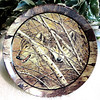 Northwoods Spirit - -Forest Echo- by David Wenzel. Third plate in the series. Bradford Exchange, 1995. Plate size approx 8 inches. They slip silently through the woods. Although only September, already their fur is becoming the heavy coat they'll need to endure the relentless snow and cold of a brutal winter in the Northwoods.  <b>$35</b>