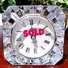 Distinctive Mikasa Glass Cube Desk Clock.  4 x 3 x 4.  <b>$40</b>