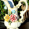 Genuine Premium Capodimonte Porcelain Floral-Adorned Pitcher.  Like New. 8 x 6 x 12.  <b>$65</b>