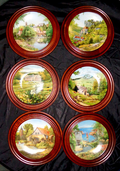 Set of 6 D'Arceau Limoges - 1988 & 1989 Michel Julien 11-Inch Collector's Plates in Excellent Condition.  <b>$125</b>