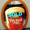 Hard-To-Find Pete's Wicked Ale Oval Mirror.   This is a unique collectible that will become a focal point of any bar.  There's a real market for vintage beer collectibles and you'll never lose money on a piece like this one.  29 x 37.  <b>$85</b>