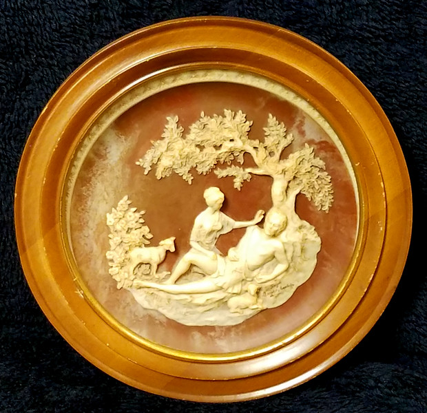 <i>Bradex - A Thing of Beauty</i>  Unique vintage solid incolay stone carved plate with beautiful relief image. This one is plate number 09806. It's is by Gayle Bright Appleby. This is the second in the series of limited edition plates from the Romantic Poets that was closed in 1978. Made by the Incolay Studios in California.  It's about 10 1/4 inches wide and in mint shape with no cracks or chips. Heavy plate.  In wood frame.  <b>$40</b>