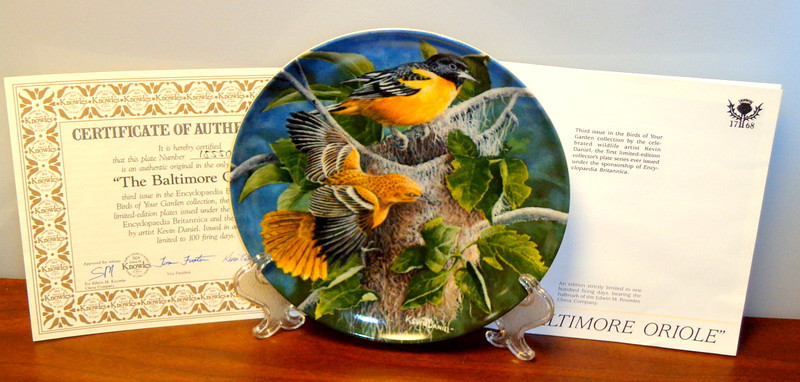 """1987 Knowles The Baltimore Oriole Collector's Plate.  Keith Daniel.  Plate # 15550I.  From the Encyclopedia Brittanica's """"Bird's in Your Garden Collection.  In original packaging with Certificate of Authenticity.  <b>$50</b>"""
