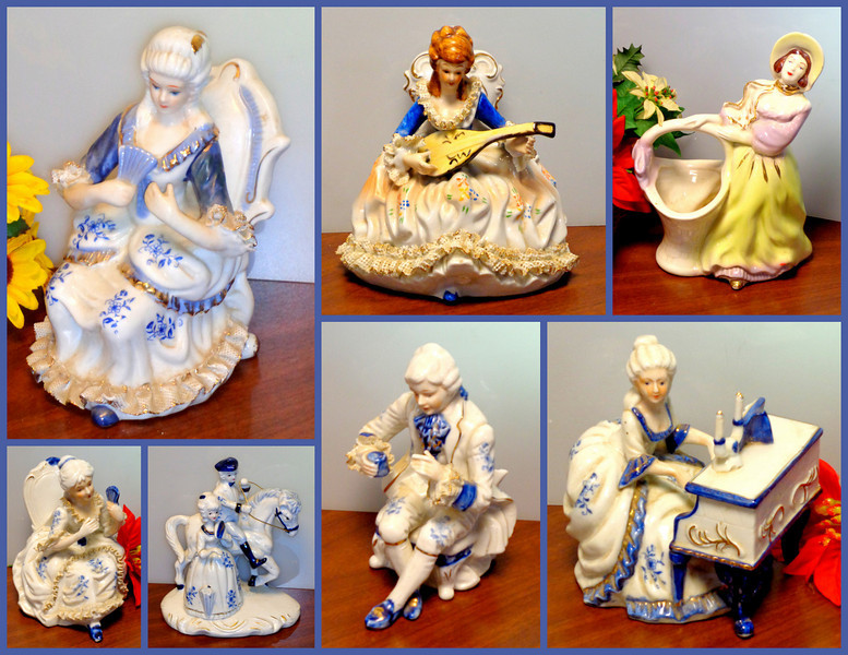 "Collection of Vintage French Provincial Porcelain Statues.  Visit the Collectibles Section of our website to see individual prices and dimensions for these and other interesting collectibles.  Click <a href=""http://www.fredsuniquefurniture.com/Finishing-Touches/Collectibles/"" target=""_blank"" rel=""nofollow""><b><font color=""#0000FF"">here</a> </font></b> to get started.  <b></b>"