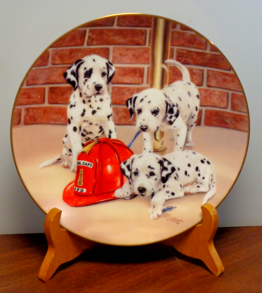 """Firehouse Frolic Plate Dalmations ~ Linda Picken ~ Princeton Gallery.  Firehouse Frolic Dalmations Plate dated 1992 from the Princeton Gallery. Plate number JJ0752. It is in new condition with no issues of any kind. Plate is 8"""" in diameter.  <b>$20</b>"""