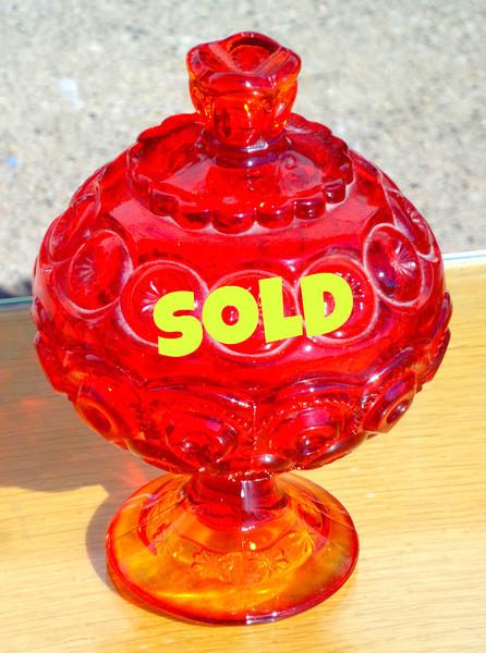 Nice Red Bubbled Glass Candy Dish.  6 x 8.  <b>$40</b>