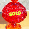 Nice Red Bubbled Glass Candy Dish.  6 x 8.  <b>$40</b>