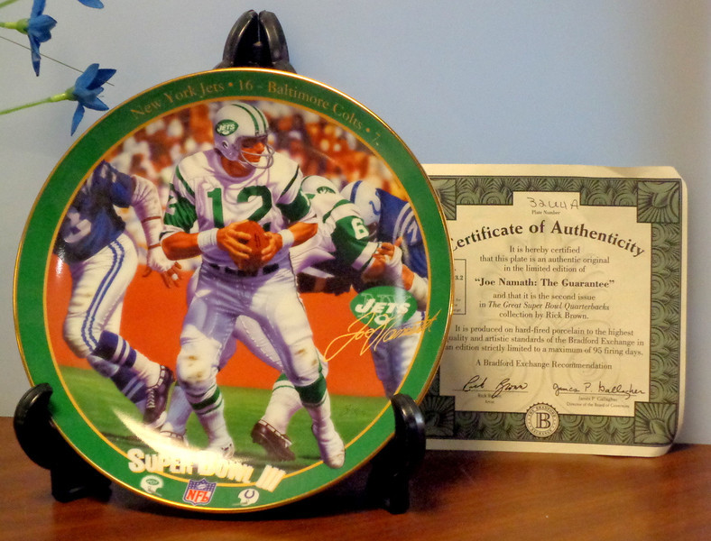 """Joe Namath: """"<i>The Guarantee</i>"""" Collector's Plate.  From the Bradford Exchange <i>""""Great Super Bowl Quarterbacks</i>"""" collection by Rick Brown.  Bradford Exchange Collector's Plate.  <b>$50</b>"""