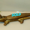 Vintage 2-Piece Brass Alligator Nut Cracker.  Excellent condition.  On the heavy side.  A well-made fun piece. Crocodile nut cracker.  15 x 4 x 3.  <b>$45</b>
