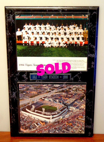 Tiger Stadium <i>The Final Game</i> Featuring 1984 World Series Champs Team Photo.  Gone, but not forgotten. Tiger Stadium 1912 ~ 1999.  Aerial photo of Tiger Stadium taken at the final game between Detroit & Kansas City on September 27, 1999.  Beautiful Marblela wall mount. Excellent condition.  13 x 20.  <b>$50</b>