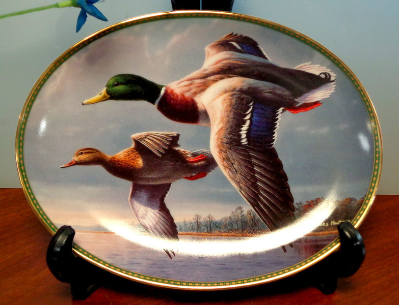 Bradex Mallards On the Wing Jim Hautmans Classic Waterfowl China 1995 1st Plate.  Collector's Plate.  This is a gently shown Mallards On the Wing First issue Bradex Plate that feature Jim Hautmans Classic Waterfowl collection of a male and female duck in flight. Beautiful water line of leaf-less trees signels the coming of winter. Fall cloud laden sky with shadowy lake. Pretty gold trimmed edge with thin dark green and gold design.This 1995 plate was part of the Federal Duck Stamp Program. Wild Wings, Inc. <b>$40</b>