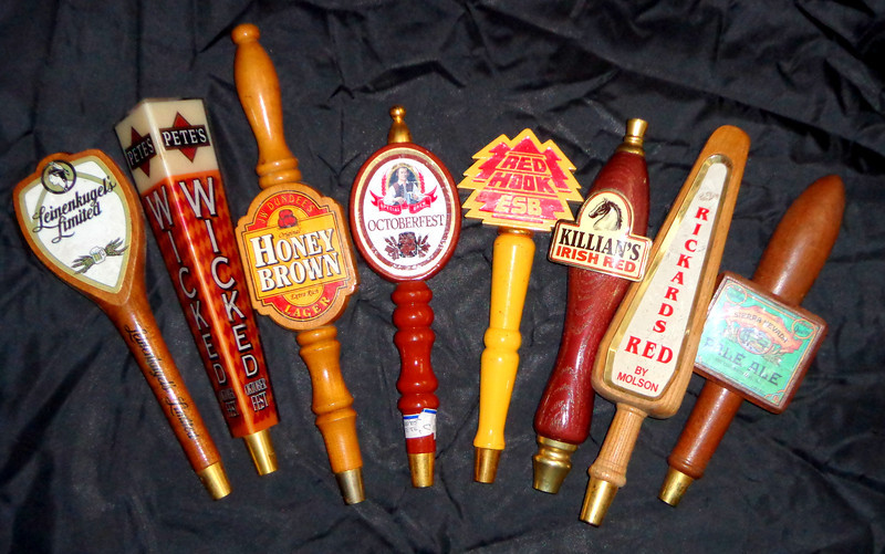 Assortment Of Vintage or Unique Beer Tap Handles.  We have about 50 of these hard-to-find beer tap handles at the moment.  Most are priced between $25 and $30.  We have a another limited selection of extremely rare beer tap handles.  We'll be happy to show these to you as well.
