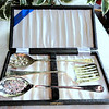 Vintage Raimond Silver Plated Spork Spoon Serving Set.  Up for sale is a nice serving set from Raimond of Sheffield England.  Silver Plated. Original hinged box.  Only lightly used.  After a thorough cleaning, these pieces will restore to like new condition.  Pay $75 or more for a comparable set elsewhere if you can find it.  <b>Our Price: $60</b>