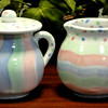 Colorful Mesa International Creamer & Sugar Bowl.  Hand Painted in Italy.  Limited Edition.  6 x 4.  <B>$25</b>