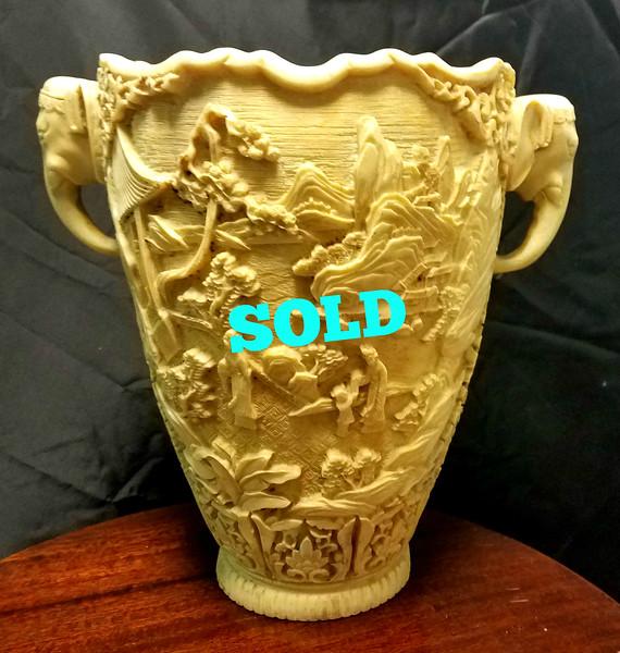 Antique Asian Carved Faux Ivory Vase