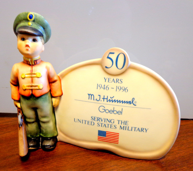 Limited Edition Goebel M.J. Hummel <i>Serving the United States Military</i> 1946 - 1996 Collectible. 7 x 3 x 5.  Fred has a limited selection of unique Goebel M.J. Hummel collectibles at our Warren Store location that we'd love to show you.  When you stop by the store, just ask someone to show you.  <b>$120</b>