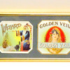 Amazing Set of 4 Antique Cigar Labels in Frame.  A perfect gift for the cigar enthusiast.  This remarkable wall hanging features antique 1900's cigar labels from Old Hickory, Wizard, Golden Veil and Senator Dixon.  Excellent condition.  21 1/2 x 6 1/2.  <b>$50</b>