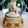 Adorable Cherub Porcelain & Water-Filled Glass Hand Wind Music Box.  Elegant raised rosettes and beautiful porcelain figurines.  5 x 6.  <b>$25</b>
