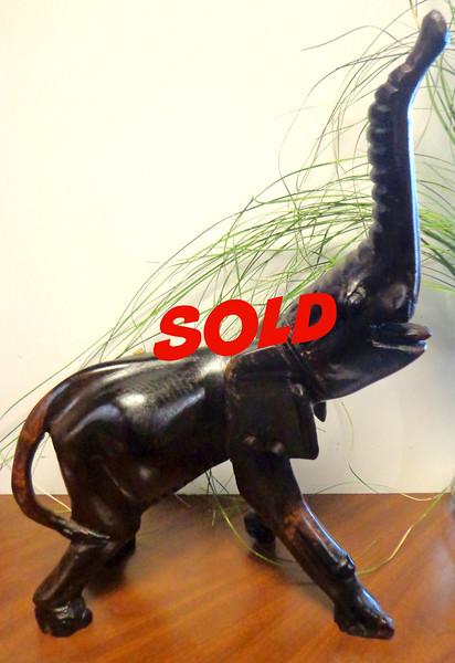 Impressive Solid Wood Elephant Made in Kenya,  15 x 7 x 18.  <b>$75</b>