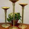 Set of 3 Solid Brass Candlesticks Candle Holders.  5 x 10, 5 x 12, 5 x 14.  Terrific Condition.  Just clean and polish.  <b>$75</b>