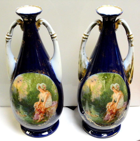 Choice of 2  Rare Prestigious Royal Crown Derby Porcelain Vases.  6 x 14.  <b>$150 each</b>