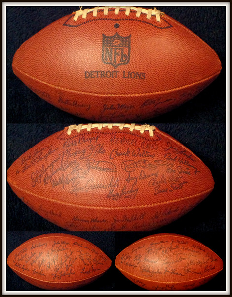 Detroit Lions Official Team Signed Football.  Approximately 60 Signatures.  1958-1976.  Signatures include Dexter Bussey, Earl Mann, Dick Jauron, Chuck Knox, Greg Landry, Larry Hand, Herman Weaver, Herb Orvis and many more.  A very rare collector's item.  <i>Sells for over $1,000 elsewhere. </i>  <b>Fred's Price: $495</b>