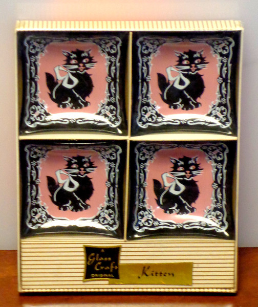 Set of 4 Vintage 1940's Black Smoked Glass Tea Bag Holders with Embossed Kitten. ~ Made in USA ~ Brand New in Box Old Store Stock.  A Glass Craft Original.  <b>$30</b>